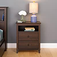 Prepac Yaletown 2 Drawer Tall Nightstand, Espresso
