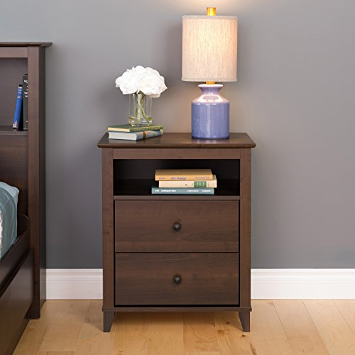 Prepac Yaletown 2 Drawer Tall Nightstand, Espresso (Stand Expresso Night)