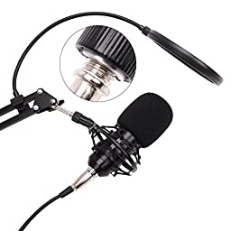 Artempo Condenser Microphone Plug & Play Audio Recorder with Adjustable Arm Stand Free Audio Adapter for Laptop/Windows PC/Smartphones