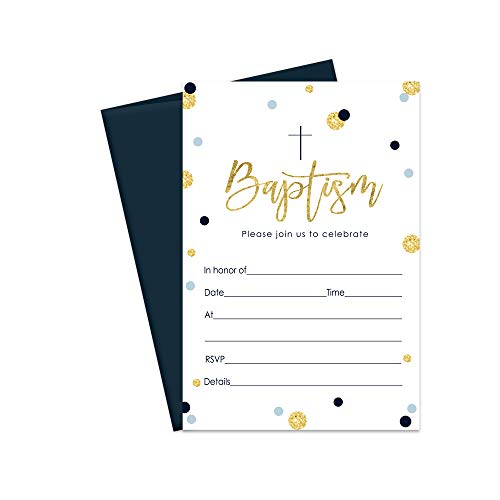 - Boys Baptism Invitation and Envelopes - Pack of 15 Cards