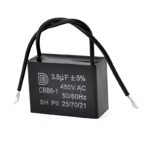 450V AC techo 3.5 uF Lug Monte 2Wires Motor Run Ventilador condensador CBB6-1