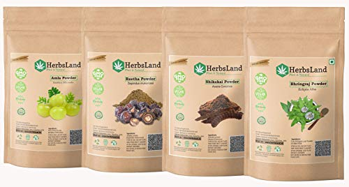 HerbsLand® Pure Bio Organic Amla Reetha Shikakai Bhringraj powder for Face, Skin and Hair Care| Shiny Hair Growth with…