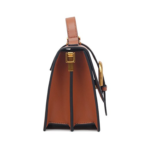 Use Retro Handbag Shoulder Capacity Everyday Asdflina Square Simple Bag For Belt Large Buckle Brown Pu Suitable U4FBZqw