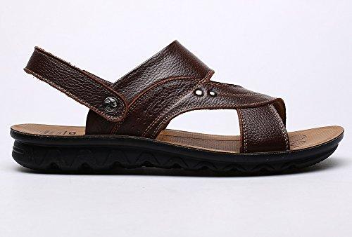 Vocni Mens Öppen Tå Avslappnade Läder Bekväma Skor Sandaler Mens Lädersandals Brun