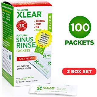 Xlear Natural Neti Pot Sinus Rinse Refill Packets, Sinus Relief Saline Nasal Rinse with Xylitol (100 Packets) ()