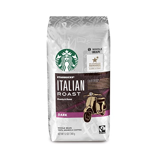 Starbucks Italian Roast Dark Roast Whole Bean Coffee, 12-Ounce Bag (Lot of 6)