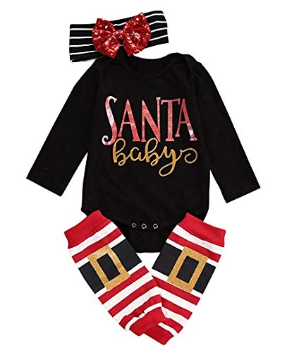 3pcs Baby Girl Cute Long Sleeve Romper Leg Warmers hairband Outfits Christmas Costume(6-12Months) -