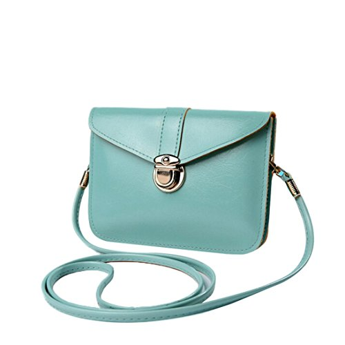 Mint Coin Designs - Shoulder Messenger Phone Bag BCDshop Simple Design Coin Purse Wallet Bag Faux Leather Handbag (Mint Green)