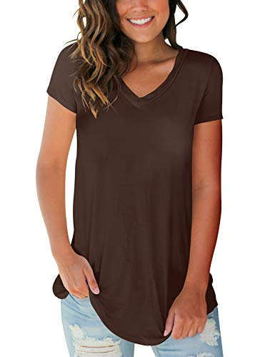SMALOVY Women's Casual Short Sleeve Solid Tees Shirts Lightweight Cotton Plus Size Coffee XXL