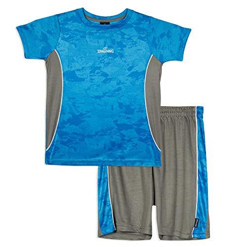 Spalding Boys Athletic Crewneck T Shirt Short Seeve Top and Shorts Gym Set, Alpha Blue, ()