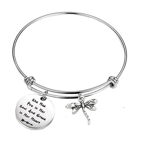 (PLITI Inspirational Jewelry Graduation Gift She Has Fire in Her Soul and Grace in Her Heart Bracelet with Dragonfly Charm Motivational Faith Gift for Her (She has fire in Soul))