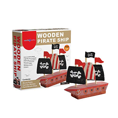 SadoCrafts Wooden Pirate Ship Kit - Fun, Interactive, Educational and DIY Boat Painting and Assembling Kit for Kids Ages 5 and Above ()