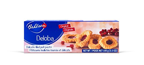 Bahlsen Deloba Red Currant Cookies (1 box) - Sweet & delicate, buttery puff pastries with light crispy layers and red currant filling - 3.5 oz box