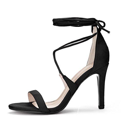 Lace Women Sandals K Black up Stiletto Allegra Heel nwRx86v5qI