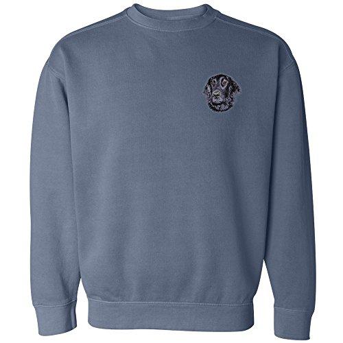 Cherrybrook Dog Breed Embroidered Mens Crew Sweatshirts - XX-Large - Blue Jean - Flat Coated (Retriever Embroidered Sweatshirt)