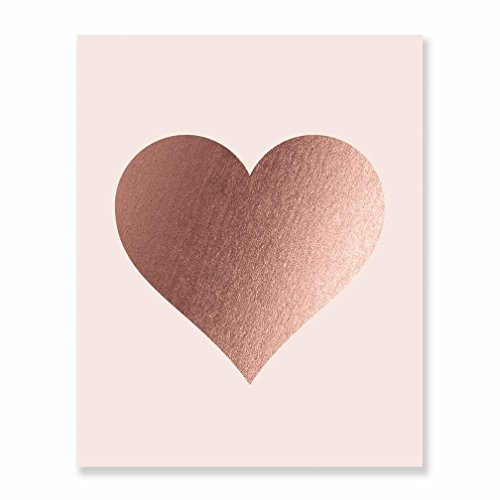 Rose Gold Foil Heart Print Blush Pink Wall Art Modern Heart Decor Love Nursery Room Poster 5 inches x 7 inches A32