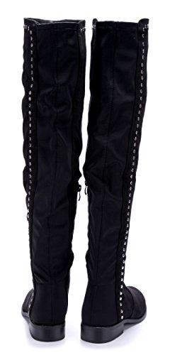 Schuhtempel24 Damen Schuhe Overknee Stiefel Stiefeletten Boots Blockabsatz Nieten 3 cm Schwarz