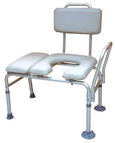Transfer Bench & Commode Combination w/Padded Seat from Complete Medical