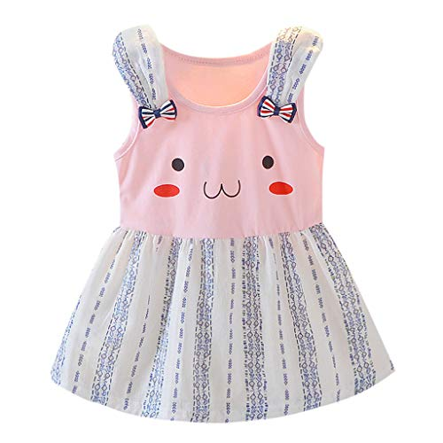Cartoon Princess Dress, Toddler Infant Baby Girls Summer Beach Party Sundress Bunny Print Cotton Cute Tank Dress (Pink, 2-3T) ()