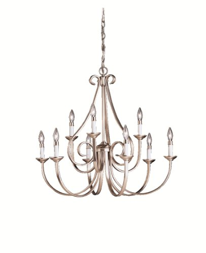 Kichler 2031NI, Dover Large Candle 2 Tier Chandelier Lighting, 9 Light, 540 Watts, Brushed Nickel