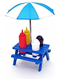 Investment Back Yard Umbrella picnic table Shaped Mustard Ketchup Salt & Pepper shaker Condiment caddy Set 13.5