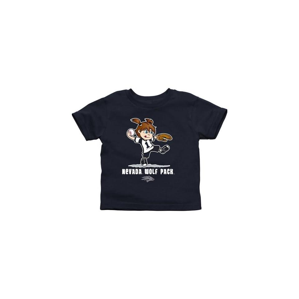 Nevada Wolf Pack Toddler Girls Softball T Shirt   Navy