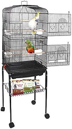 YJIIJY Jaula para Pájaros Portátil con 4 Ruedas giratorias de 360° Soporte Desmontable para Agapornis Cockatiel Conure Pinson y Canaris (46x35.3x150.6cm, Negro)