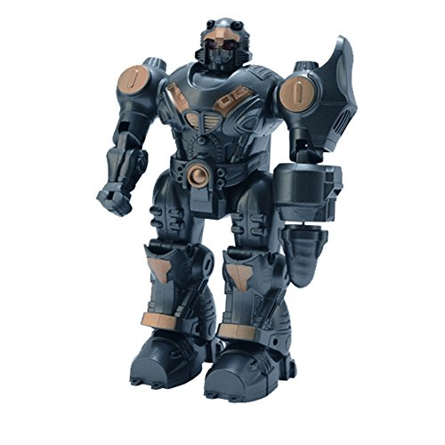 Lightbringer Android Robot Toy Figure For Kids – Lights, Sounds, Realistic Walking Function (Dark Gray)