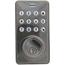 Tru-Bolt Electronic Deadbolt with Push button keypad and remote - Satin Nickel Finsih