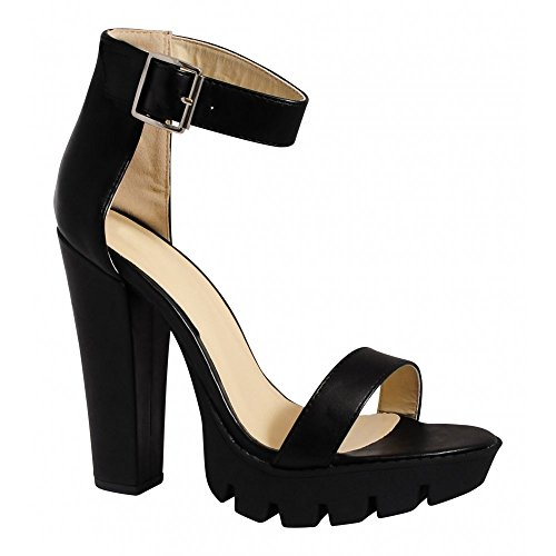 Ladies Womens Black Cleated Platforms Summer Strappy Sandals High Heels Shoes UK6/EURO39/AUS7/USA8 rCwpN94