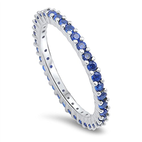 (Blue Simulated Sapphire Simple Eternity Ring .925 Sterling Silver Thumb Band Size 9)