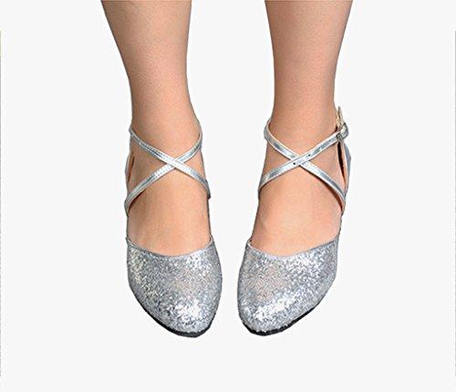 Meijili , Damen Tanzschuhe Silber