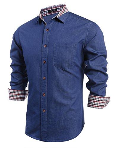 COOFANDY Men's Casual Dress Shirt Regular Fit Long Sleeve Button Down Shirts, Type 02 - Blue, Medium