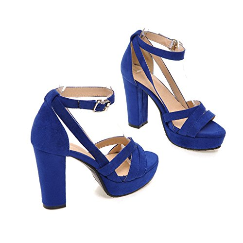 Genepeg Womens Sandals Flock Ankle Strap High Chunky Heel Platform Sandals Summer - Womans Roman Royal Dress Blue