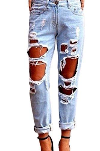 Vepodrau Mujer Demin Jeans Casual Faded Ripped Enrollado Pantalones Azul
