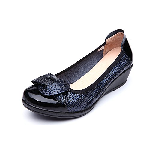 Price comparison product image libre comme l'air Women Pumps Slip-On Leather Shoes With Wedge, Casual Loafer Moccasins Boat Shoes