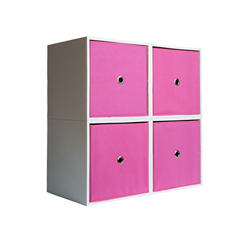 4-Cube Organizer with Drawers (Bubblegum) by iCube