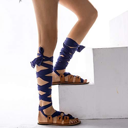 Zapatos Azul Vendaje Playa Verano Rodilla Mujeres Planos De Las Correa Bohemia Sandalias Frauit Altos wOXYS