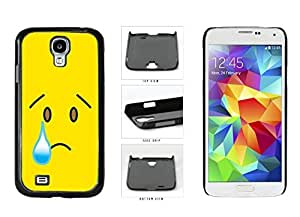 Bright Yellow Sad with Tear Face Plastic Phone Case Back Cover Samsung Galaxy S4 I9500