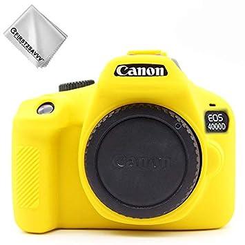 First2savvv Amarillo Cuerpo Completo Caucho de TPU Funda Estuche Silicona para cámara para Canon EOS 4000D Rebel T100 3000D XJPT-4000D-GJ-S13G11