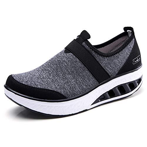 ZYEN Womens Comfortable Walking Shoes Fashion Slip On Sneakers Platform Wedge Mesh Loafers Shoes 7697heise39