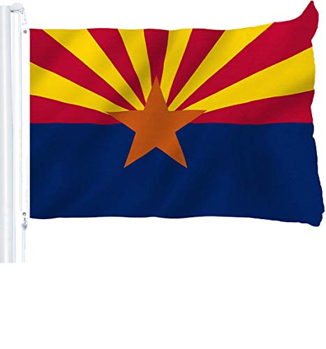 G128 - Arizona State Flag 3x5 ft Printed Brass Grommets 150D Quality Polyester Flag Indoor/Outdoor - Much Thicker and More Durable Than 100D and 75D Polyester ()