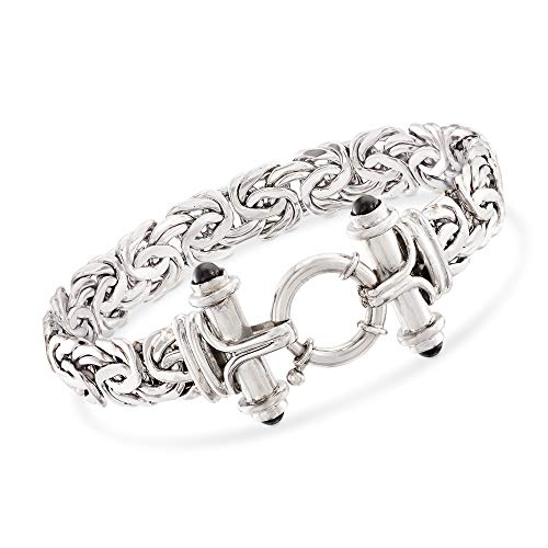 (Ross-Simons Black Onyx Byzantine Bracelet in Sterling Silver)