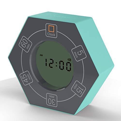 Hexagon Rotating Timer, 5, 15, 30, 45, 60 Minute Preset Countdown Timer (Cyan)