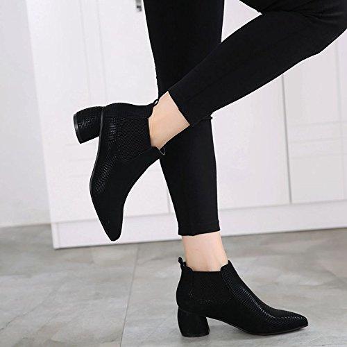 Y Botas Seis Viento El Zapatos Mujeres Sharp Las Y Black Casual Guapo Retro GTVERNH Tacones Medio Treinta El Invierno Tacones Zapatos Puntiagudos De o Ingles Oto gnwSxp0