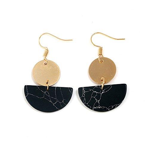 LODDD Women Fashion Earrings Bohemian folk style semicircular round Turquoise Earrings Jewelry