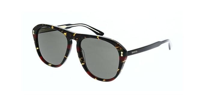 Gucci Unisex-Erwachsene Sonnenbrille GG0073SK 002, Braun (Avana/Grey), 56