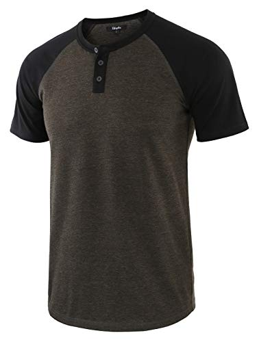 Estepoba Men's Casual Vintage Short Raglan Sleeve Baseball Henley Jersey Shirts H.Charcoal/Black XXL