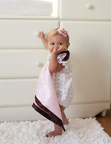 - Chocolate Trim COMFORT SILKIE Security Blanket ~ Soft Flannel & Silkie Satin. The Original. The Best. (Pink)