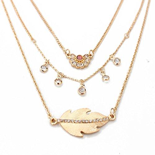 Horseshoe Toggle Watch (HeyGirl Fashion Gold-tone Irregular Multilayer 3-Row Set Clavicle Chain Necklace(Leaf))